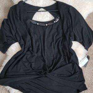 Alyx NWT black knotted top w attached necklace